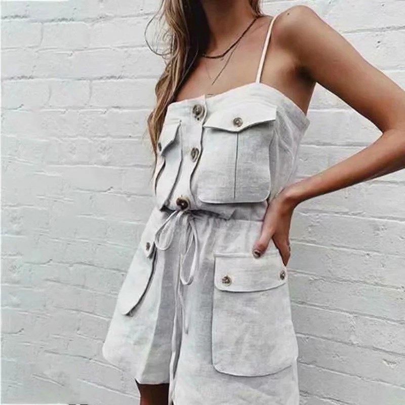 2019 Women Summer Loose Strap Romper Pockets Lace Up Button Short   Jumpsuit   Female Vintage Solid Overalls