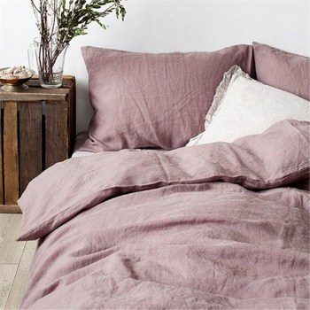 Set of 4 Pre stone washed 100% Natural Linen grey purple bedding set 1 duvet cover + 2 pillowcases + 1fitted sheet