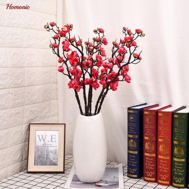 Artificial Plum flor arreglo floral cereza decoracin del hogar de