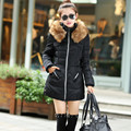 2016 New Fashion Down & Parkas Warm Winter Long Coat Women Thick Warm Plus Size Fur Hooded Jacket Femme Cotton Wadded Outerwear