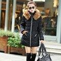 2016 de Moda de Nova Down & Parkas Inverno Quente Longo Casaco de Mulheres Femme Algodão Quente grosso Plus Size Com Capuz De Pele Jaqueta Amassado Outerwear