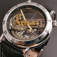 Nouveau boîtier Transparent bracelet en cuir noir hommes montres haut marque automatique squelette cadran FORSINING montres pour hommes femmes