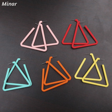 Big Triangle Hoop Earrings Women Bright Color Acrylic Geometric Triangular Statement Party Jewelry Gifts