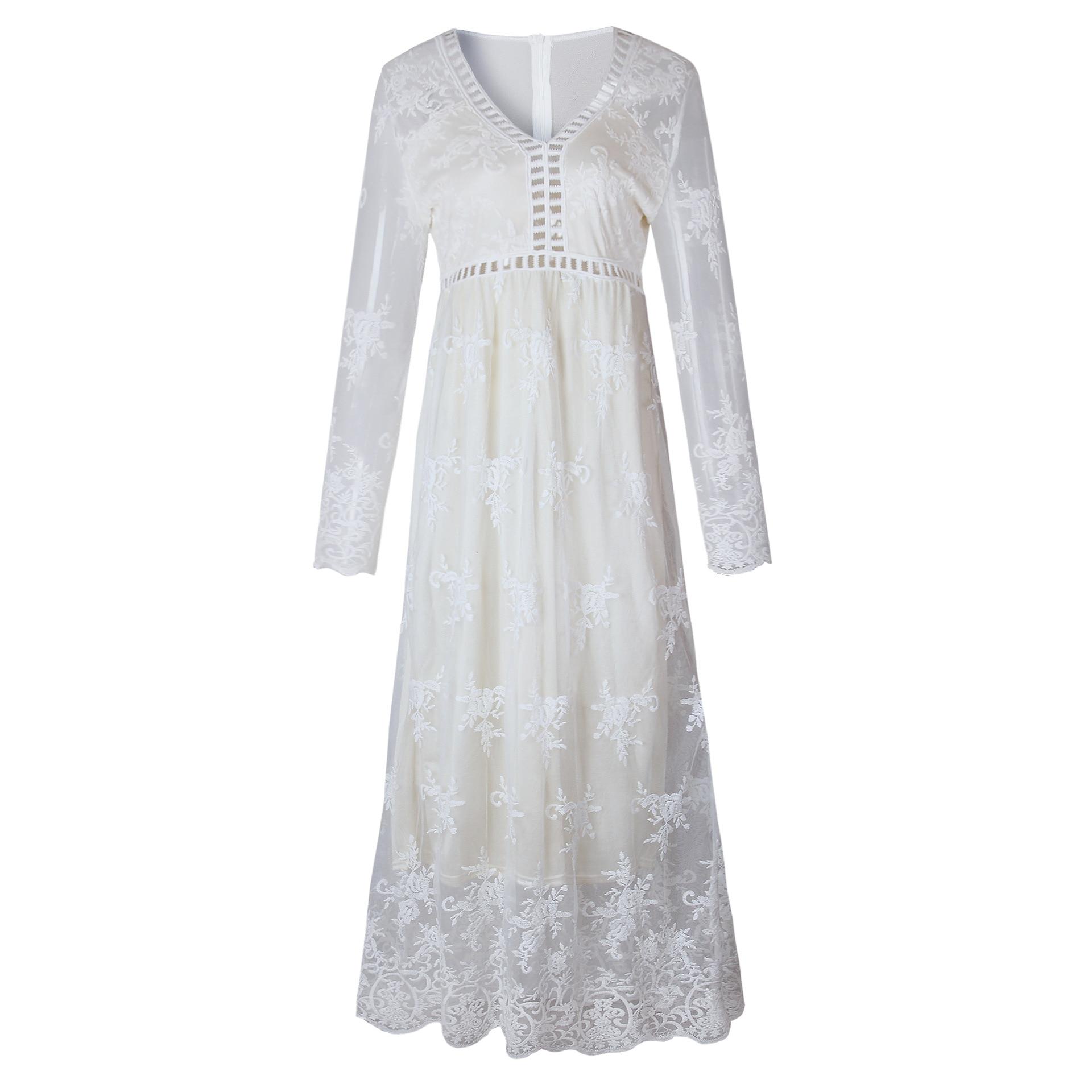 LAISIYI White Lace Embroidery Maxi Dress Long Sleeve Elegant Party ... 5e1e258d90c8