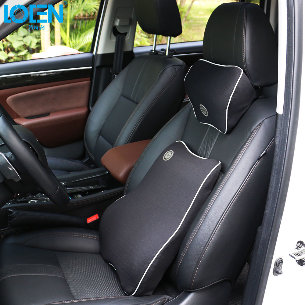 цена на 1 Set Memory Foam Car Pillow Headrest Neck Rest Pillows Auto Seat Back Waist Support Lumbar Cushion Breathable Universal