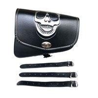 Skull Logo Black Motorcycle PU Lether Saddle Bags Swingarm Bag Tool Bags For Harley Davidson Sportster XL883 XL1200