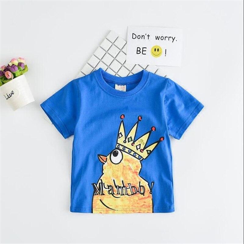 d5ee09c12 Summer Cartoon Crown Chicken Tops Boys Cotton T shirt Children Short ...