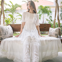 Jastie Bohemian Hippie Big Swing Holiday Beach Dress O Neck Half Sleeve Spring Summer Dresses Women White Patchwork Lace Dress