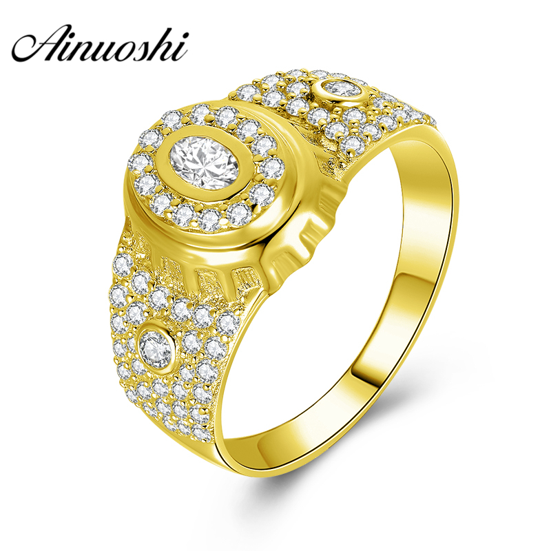 AINUOSHI Luxury 10K Solid Yellow Gold Men Ring 5.2g Wedding Band Rows Drill Halo Ring Wedding Engagement Gold Jewelry Men Band цена и фото