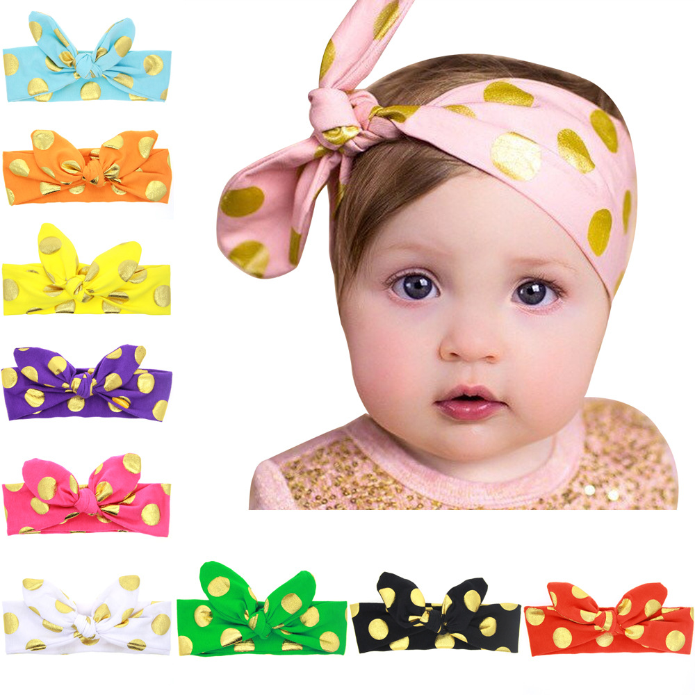 Be best hair accessories for baby - 1pcs Chinese Style Rabbit Ears Knot Hair Headbands For Kids Golden Dots Handmade Girls Hair Accessories Party Dress Up Best Gift
