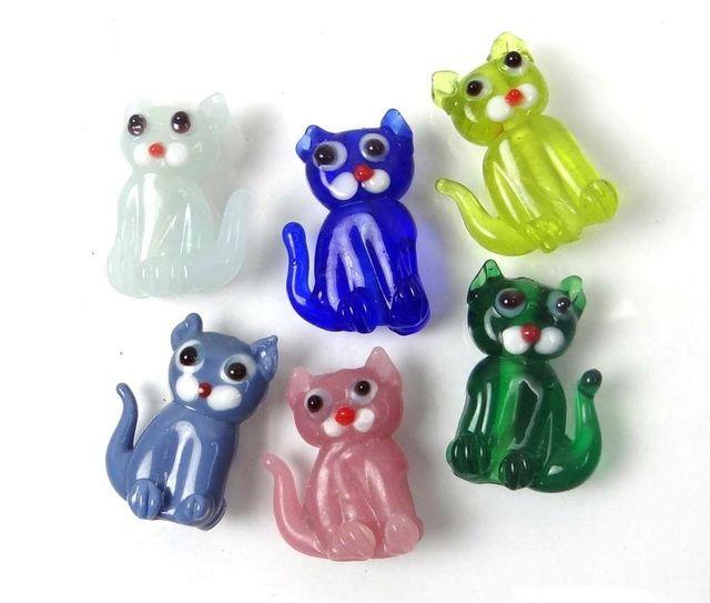 Lampwork Thủy Tinh Làm Bằng Tay Đầy Màu Sắc Đứng Mèo Hạt 6 cái/lốc