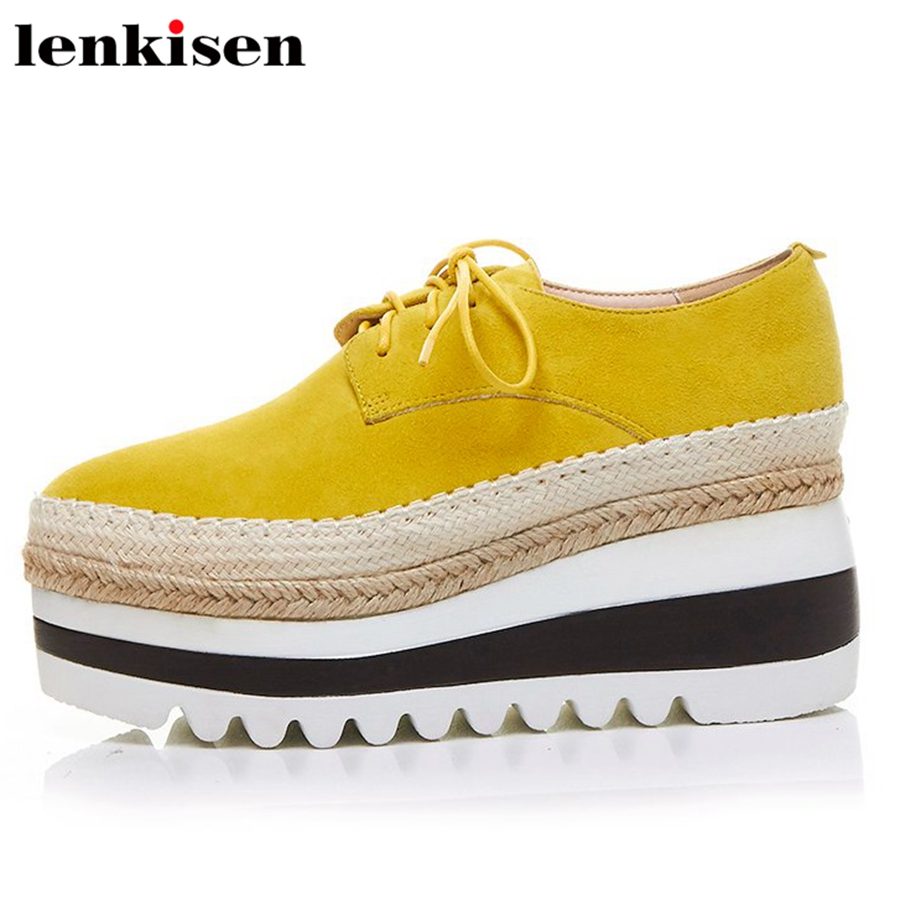 Lenkisen topstar new arrival lace up kid suede platform round toe causal shoes wedges thick high heels meeting women pumps L55
