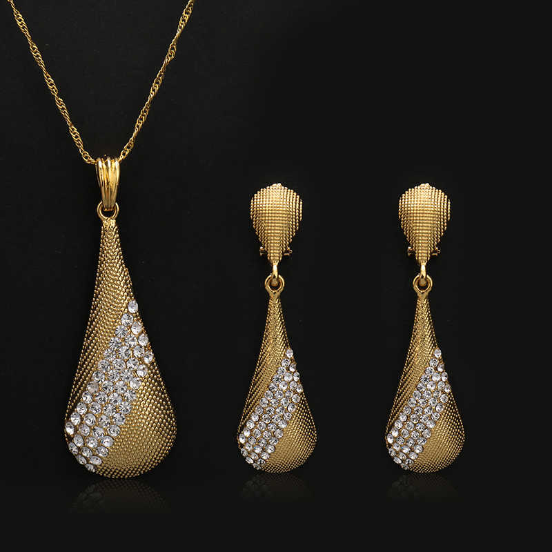 Fashion dubai Jewelry Sets For Women crystal Water Drop Necklace Pendant Earrings Statement Bridal Wedding Party Gift