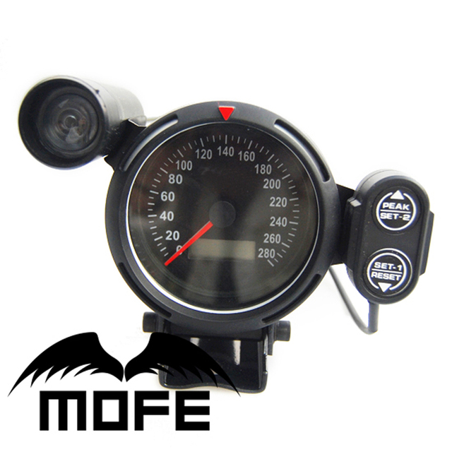 Original Logo White LED 80mm Digital Odometer Speedometer Auto Gauge Meter With Green Shift Light + Stepper Motor