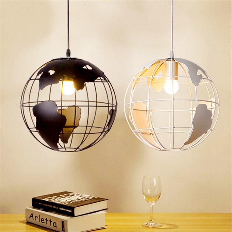 Nordic Modern Cord globe ball Pendant light world map E27 lamp White and black for living room cafe bar Loft Vintage luminarias вьетнамки globe merkin combo black green white