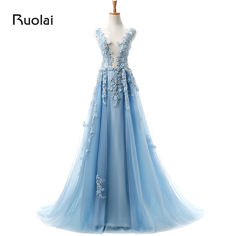 Real Photo Sexy   Evening     Dresses   Scoop A-Line Tulle Appliques Sequined Beaded Bodice Sweep Train   Evening   Party Gowns ASAFN5