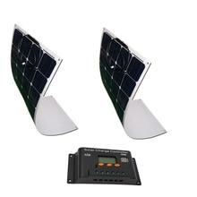 Flexible Solar Panel 18v 100w Monocrystalline 2 Pc Solar Kit 200w Solar Charge Controller Regulator 20A 12v/24v Caravan Car Camp 100w 18v monocrystalline flexible solar panel for caravan yacht home bicycle