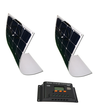 Solar Kit 200w 24v Solar Panel Flexible 100w 2 Pcs Solar Charge Controller 12v/24v 20A Auto Battery Charger Rv Off Grid Boat Car