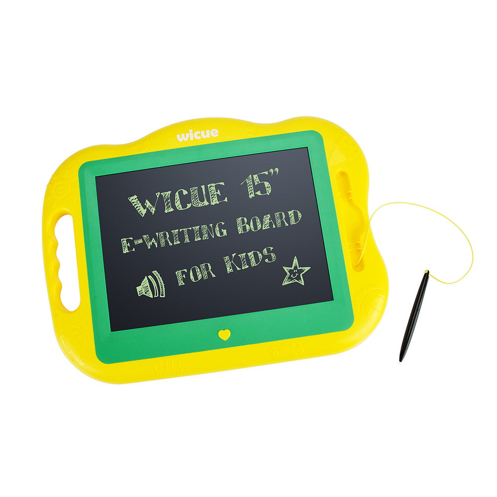 Wicue 15 Inches  Electronic Writing Board E-Writer Pad Message Notepad With Stylus Liquid Crystal Film For kids-Yellow-Green