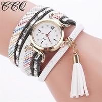New CCQ Brand Women Bracelet Tassel Watch Luxury Gold Quartz Wristwatch Ladies Fashion Leather Dress Clock Watch Drop Shipping