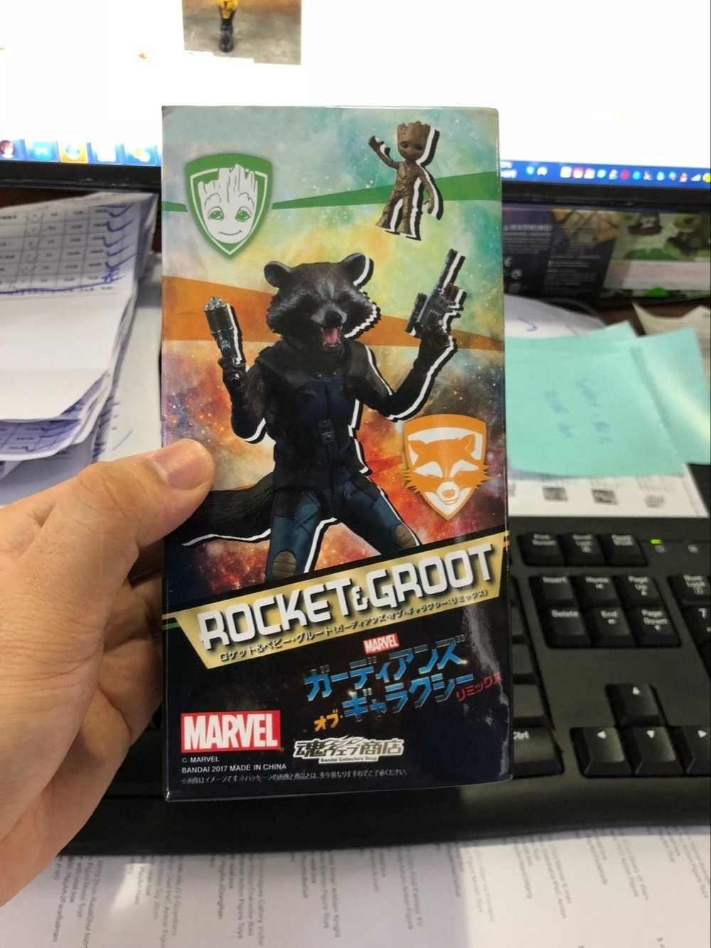 Guardiões da galáxia marvel avengers rocket raccoon & baby tree figuras de ação brinquedos para o aniversário de natal