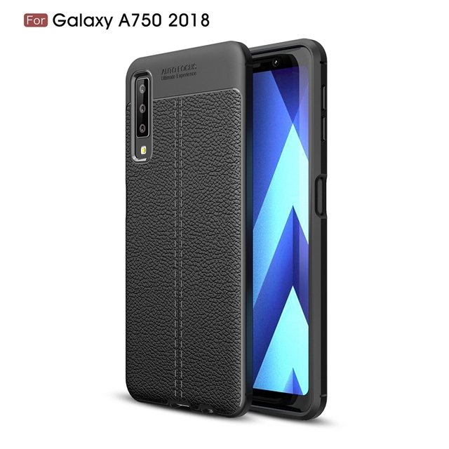 new style 8e70c 1cb42 US $3.09 38% OFF|For Samsung Galaxy A750 2018 Phone Back Protective  Smartphone Soft Litchi striae Shockproof Cases For Galaxy A750 Case  Cover-in ...