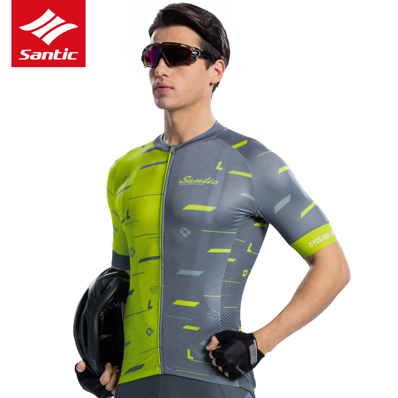 Santic Cycling Jersey Men Breathable Elastic Reflective Quick Dry Short Sleeve Jersey Top MTB Mountain Bike Bicycle Clothing arsuxeo 130019 men s breathable quick dry short cycling jersey top pants set black l