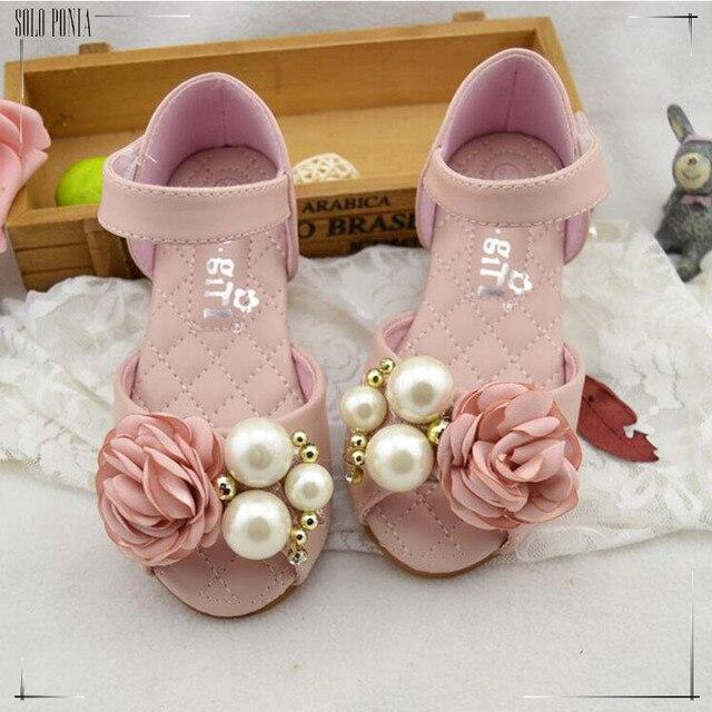 Натуральная кожа Детская обувь для девочек 2016 Летних Девочек Сандалии Кожаные Принцесса Обувь для Детей сандалии Девушки партия Обуви CS3149