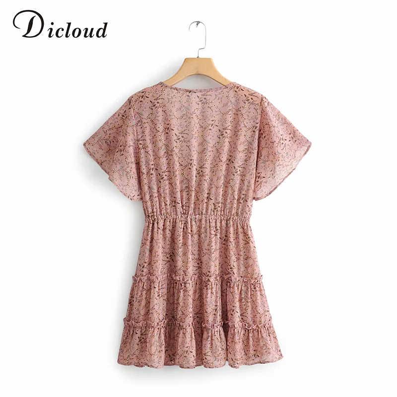 DICLOUD Элегантное летнее мини-платье с цветочным принтом Boho 2019 Розовое шифоновое платье с чешским шифоновым пляжным платьем