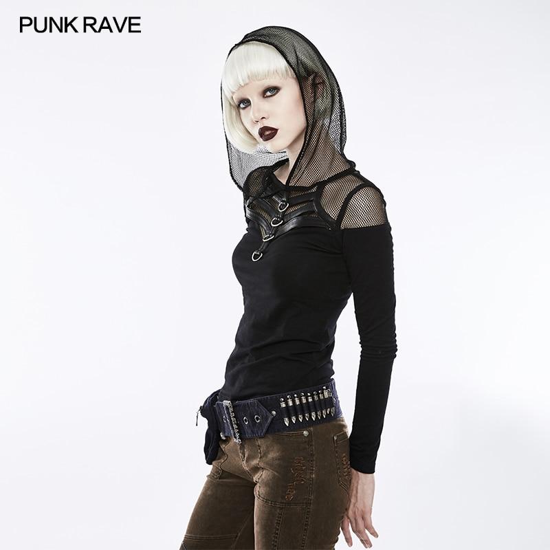 PUNK RAVE soutien-gorge en cuir Transparent maille femmes à manches longues imprimé T-Shirts Harajuku T-Shirts haut court t-shirt Punk Rock vêtements