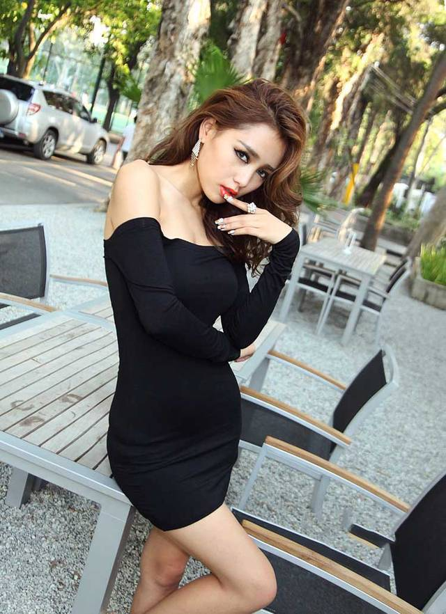 75eb4e0caeadc European and American women's sexy package hip nightclub neck strapless  stretch tight long sleeved black dress-in Dresses from Women's Clothing on  ...