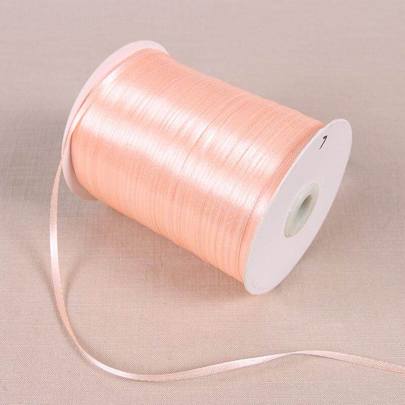 22 м/лот 3 мм атласные ленты для свадьбы День рождения коробка шоколадных конфет подарочная упаковка ленты Рождество Хэллоуин Декор - Цвет: Pink Champagne