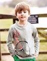 18m-6 anos Meninos T-shirt Dos Miúdos T-shirt Do Bebê do Menino da marca t camisas Crianças t-shirt de Manga Comprida 100% Algodão Americano Bonito bicicleta camisas