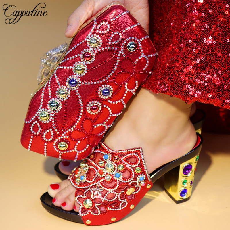 Capputine Italian Shoe With Bags Set For Party In Women African Decorated With Rhinestone Shoes And Bag Set For Wedding 2016 italian shoes with matching bags for party high quality african shoes and bags set for wedding