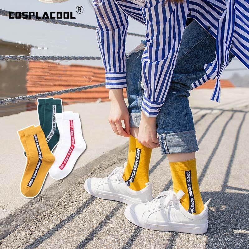 [COSPLACOOL]Letter Pattern Art Socks Women Skateboard Harajuku Short Socks Soft Breathable Cotton Socks Low Ankle Funny Sokken