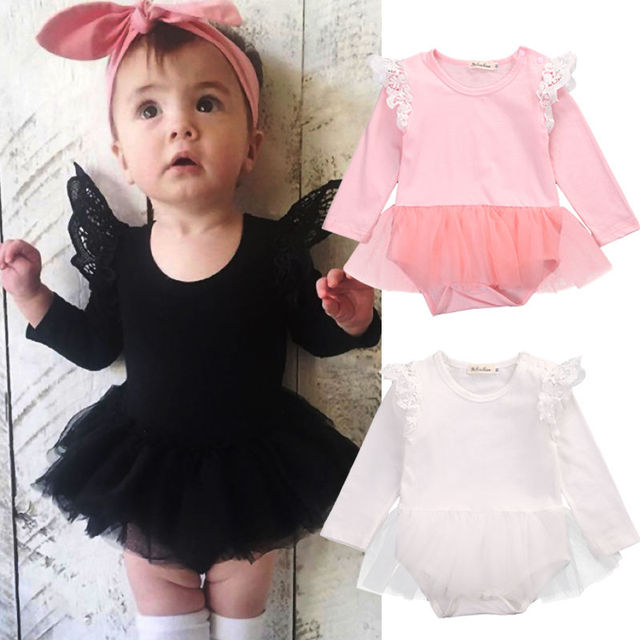 ce77531389 Cute Newborn Baby Girl Lace Long Sleeve Fly Sleeve Bodysuit Lace Tulle Tutu  Sunsuit Outfits 0-24M