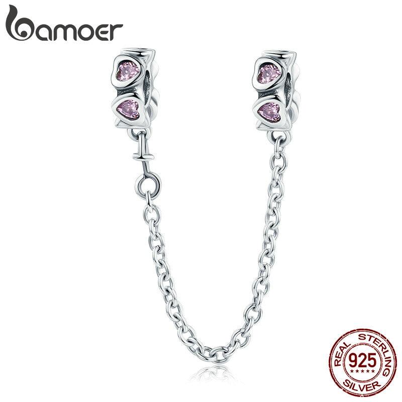 9e2369a40d3e BAMOER 100% de Plata de Ley 925 dulce inspiración corazón Rosa cadena de  seguridad tapón encanto fit pulsera del encanto de la joyería de DIY SCC562