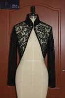 Элегантный Кружево болеро с длинным рукавом свадебное куртка черный Свадебная вечеринка вечерние Для женщин Болеро настоящая фотография