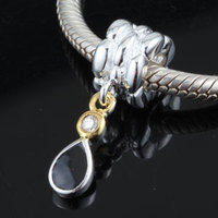 Black crystal water drop dangle Original 925 sterling silver charms diy jewelry Fits for Pandora Bracelets free shipping