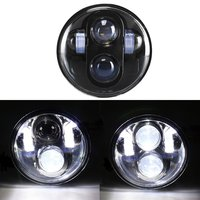 1pcs 5 3/4 Motorcycle Black Projector HID LED Light Bulb Headlight H4 For Motorcycle