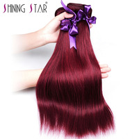 Shining Star 99J Brazilian Hair Weave Bundles Straight Red Non Remy Hair Extensions True To