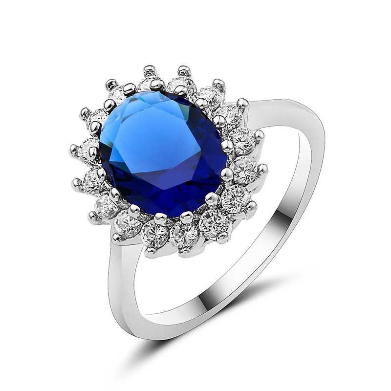 جديد ذكر أنثى كبيرة مستديرة الأزرق/الأخضر/الأحمر خاتم موضة خاتم الذهب خمر خواتم الزفاف للرجال والنساء مجوهرات A