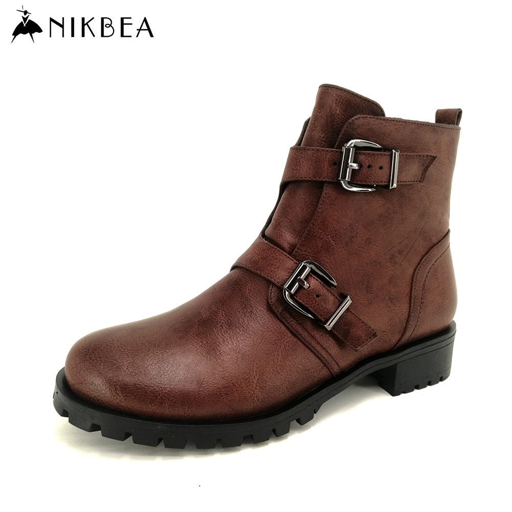 Nikbea 2016 Autumn Women Ankle Boots Flat Vintage Winter Boots Ladies Pu Leather Motorcycle Boots Women Booties Shoes Fashion nikbea vintage western boots cowboy ankle boots for women pointed toe boots winter 2016 autumn shoes pu chunky low heel booties
