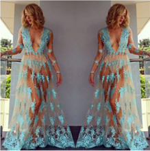 Sexy Dress Women Summer Floral Lace See Through Sundress Long Sleeve V Neck Casual Evening Party Club Long Maxi Dress see through random floral long sleeves slit maxi dress
