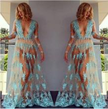 купить Sexy Dress Women Summer Floral Lace See Through Sundress Long Sleeve V Neck Casual Evening Party Club Long Maxi Dress по цене 467.27 рублей