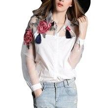 15141e5d868 Лето 2017 г. модные женские туфли блузки с аппликацией цветок вышивка  Винтаж рубашки Ширнесс органза