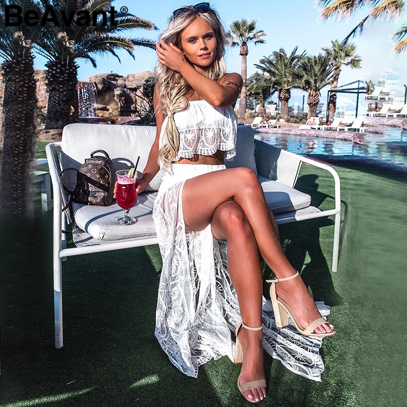4e773fd3a7 BeAvant Elegant transparent sexy rompers womens jumpsuit Strapless lace  white jumpsuit 2018 Summer two pieces playsuit overalls-in Jumpsuits from  Women s ...