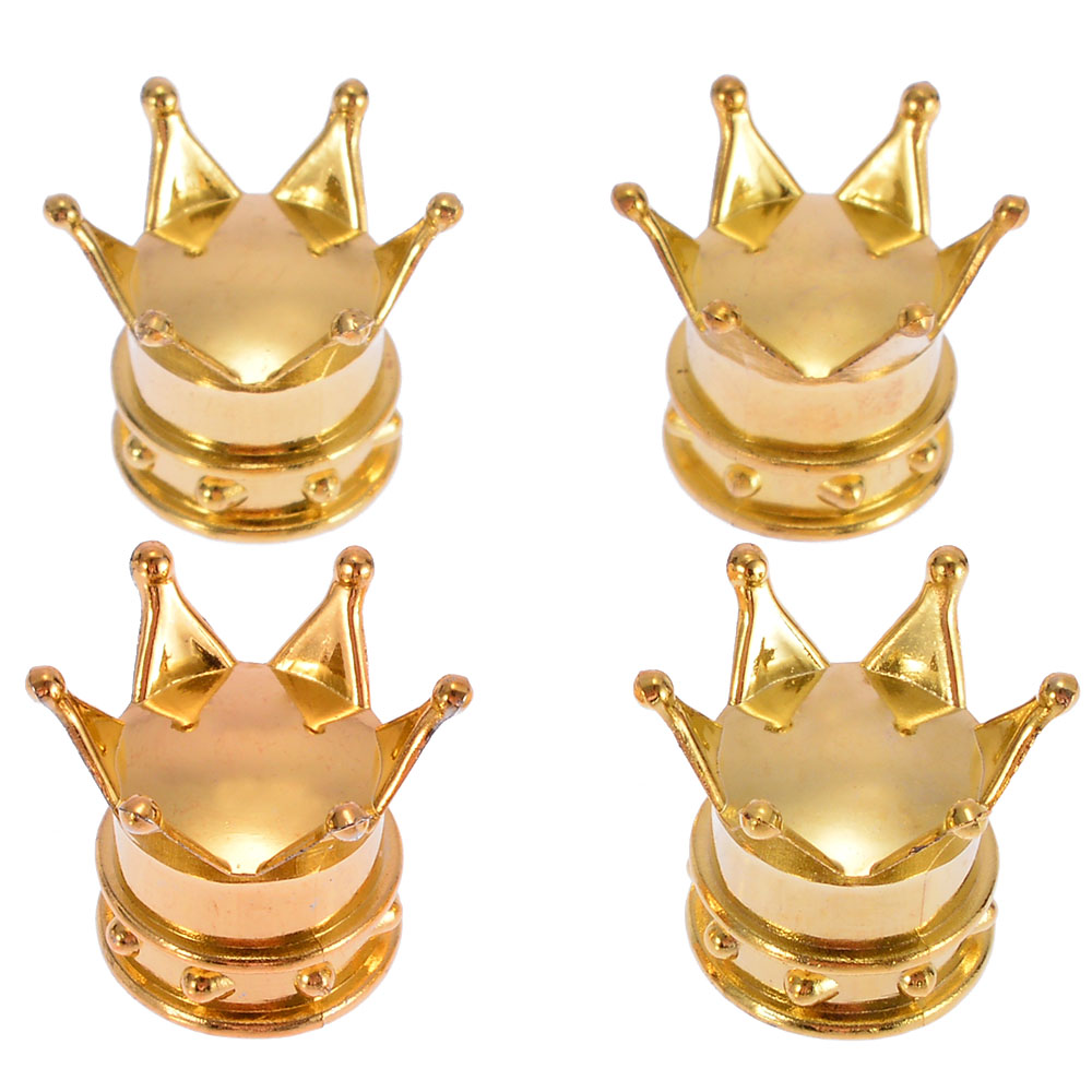 4Pcs Universal Gold Crown Style Car Tire Air Valve Stem Cap Motorcycle Wheel Tyre Stem Air Valve Dust Covers Auto Accessories
