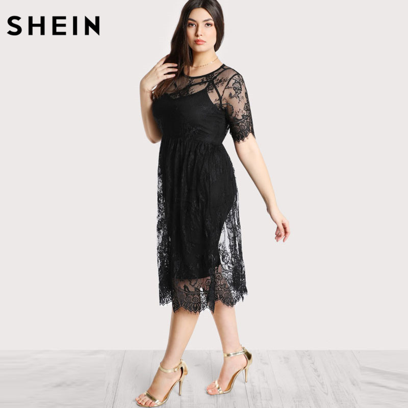 3507d78b1d79 SHEIN Black Plus Size Lace Dress Women High Waist Floral Lace Dress Scoop  Neck Buttoned Large Size Summer Dress -in Dresses from Women s Clothing on  ...