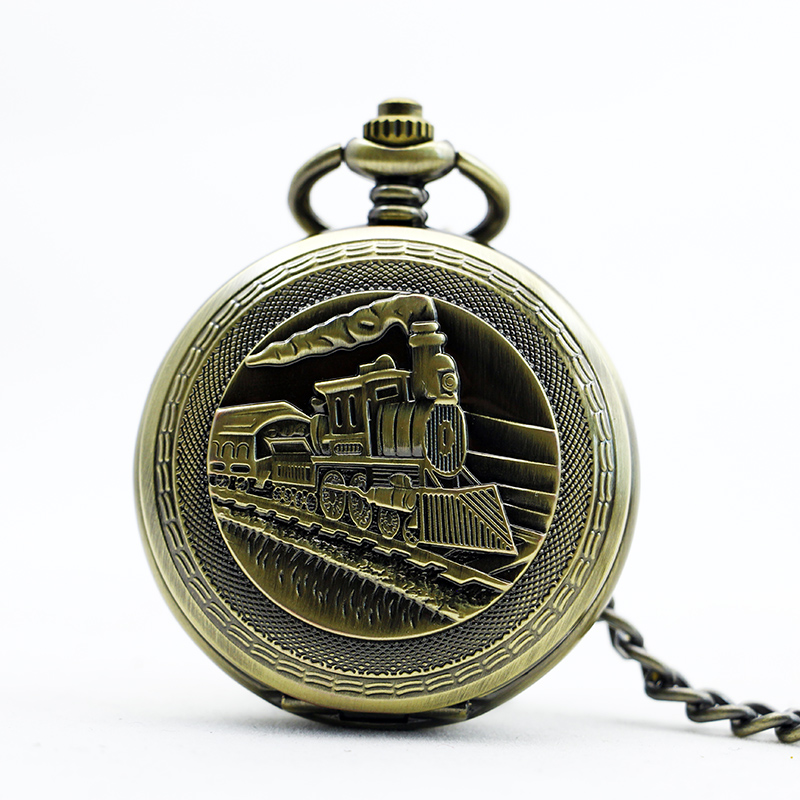 Vintage Pocket Watch Steampunk Running Steam Train Women Pendant With FOB Chain Mechanical Hand Wind Classic Men PJX1098